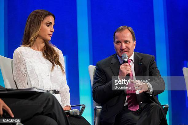 Stefan Loefven prime minister of Sweden speaks in a panel discussion during the annual meeting of the Clinton Global Initiative in New York US on...