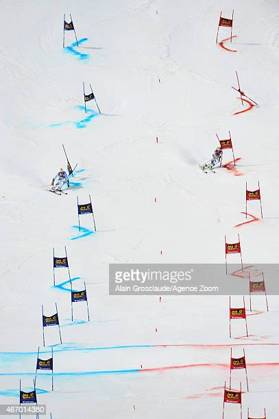 Stefan Luitz of Germany competes against Justin Murisier of Switzerland during the Audi FIS Alpine Ski World Cup Finals Nations Team Event on March...