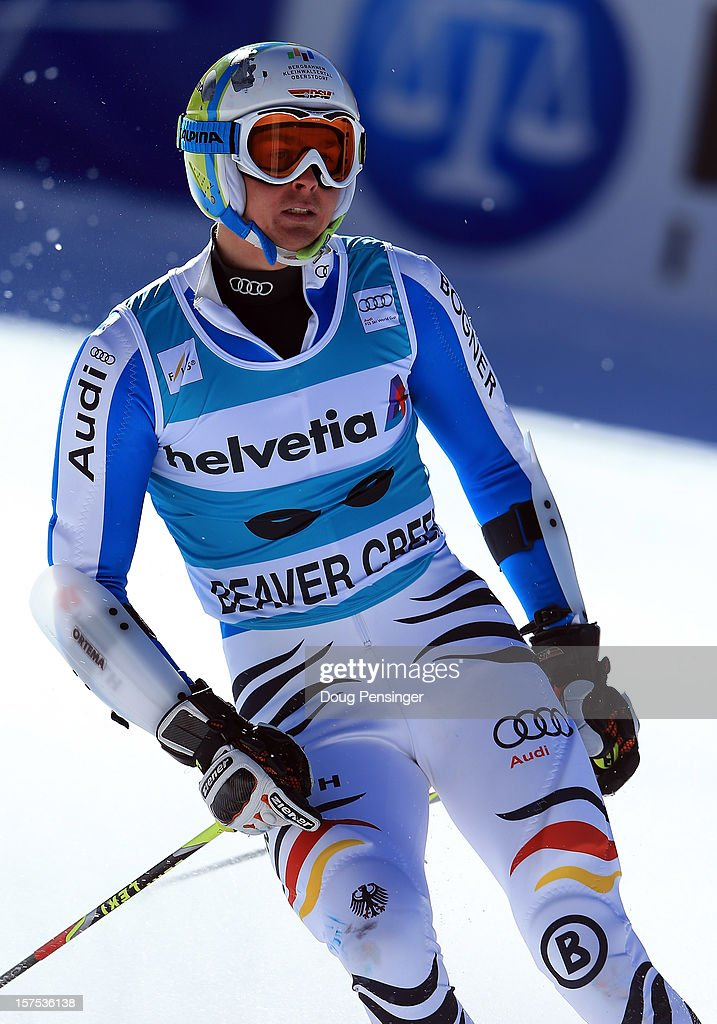 Stefan Luitz of Germany looks on after finishing 13th in the men's Giant Slalom at the Audi FIS World Cup on December 2, 2012 in Beaver Creek, Colorado.