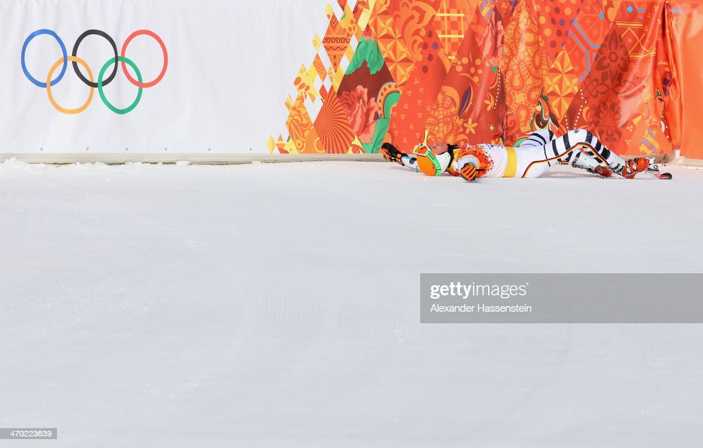 Stefan Luitz of Germany reacts during the Alpine Skiing Men's Giant Slalom on day 12 of the Sochi 2014 Winter Olympics at Rosa Khutor Alpine Center on February 19, 2014 in Sochi, Russia.