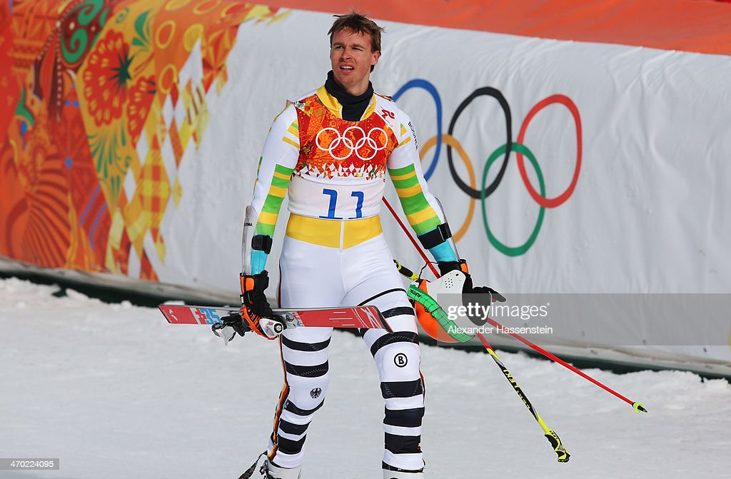 <a gi-track='captionPersonalityLinkClicked' href=/galleries/search?phrase=Stefan+Luitz&family=editorial&specificpeople=7286362 ng-click='$event.stopPropagation()'>Stefan Luitz</a> of Germany reacts during the Alpine Skiing Men's Giant Slalom on day 12 of the Sochi 2014 Winter Olympics at Rosa Khutor Alpine Center on February 19, 2014 in Sochi, Russia.