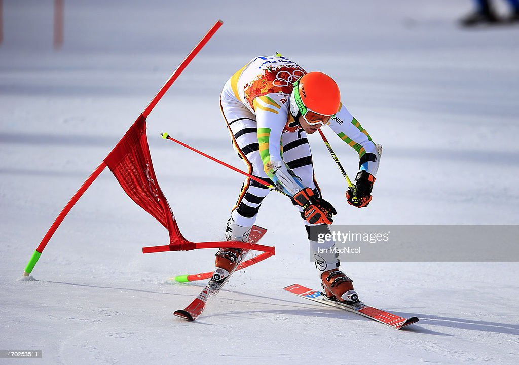 Stefan Luitz of Germany straddles the last gate during round one of the Men's Giant Slalom on Day 12 of the Sochi 2014 Winter Olympics at Rosa Khutor Alpine Centre on February 19, 2014 in Sochi, Russia.