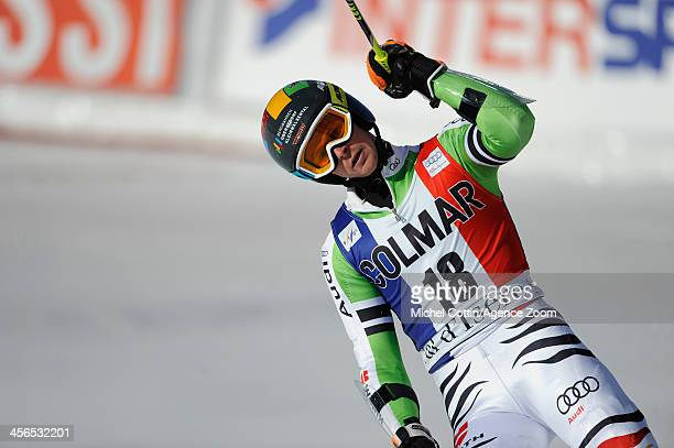 Stefan Luitz of Germany takes 3rd place during the Audi FIS Alpine Ski World Cup Men's Giant Slalom on December 14 2013 in Val dÕIsre France