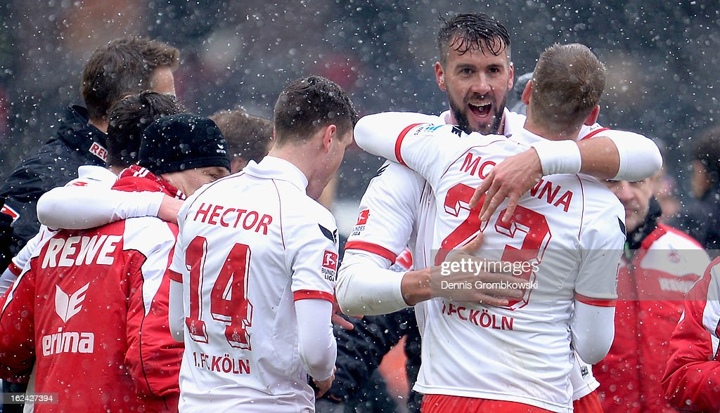 <a gi-track='captionPersonalityLinkClicked' href=/galleries/search?phrase=Stefan+Maierhofer&family=editorial&specificpeople=750774 ng-click='$event.stopPropagation()'>Stefan Maierhofer</a> of Cologne celebrates with teammate <a gi-track='captionPersonalityLinkClicked' href=/galleries/search?phrase=Kevin+McKenna&family=editorial&specificpeople=247743 ng-click='$event.stopPropagation()'>Kevin McKenna</a> after the Second Bundesliga match between 1. FC Koeln and Union Berlin at RheinEnergieStadion on February 23, 2013 in Cologne, Germany.