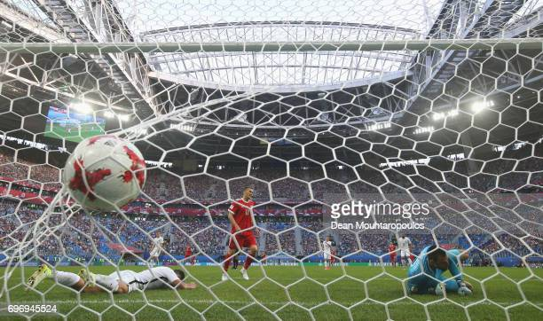 Stefan Marinovic of New Zealand dives in vain as Fedor Smolov of Russia scores his side's second goal during the FIFA Confederations Cup Russia 2017...