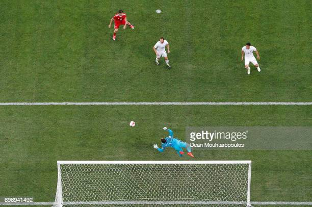 Stefan Marinovic of New Zealand make a save during the FIFA Confederations Cup Russia 2017 Group A match between Russia and New Zealand at Saint...