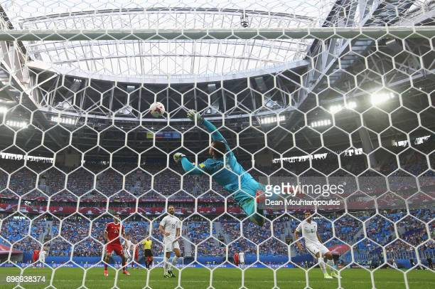 Stefan Marinovic of New Zealand makes a save during the FIFA Confederations Cup Russia 2017 Group A match between Russia and New Zealand at Saint...