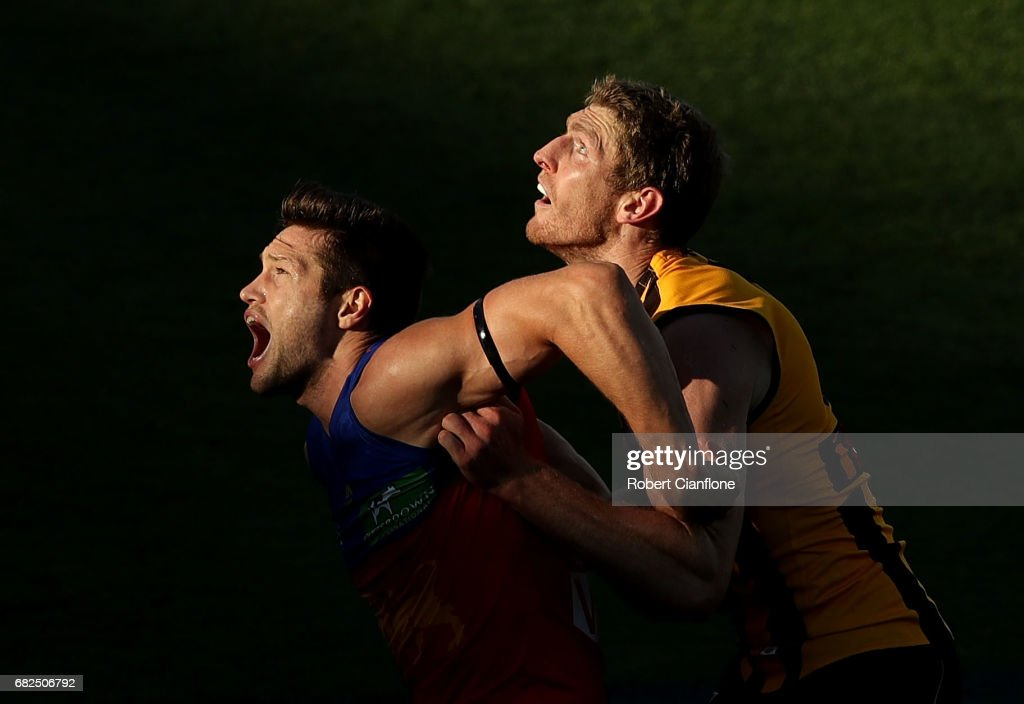 Stefan Martin of the Lions and Ben McEvoy of the Hawks compete for the ball during the round eight AFL match between the Hawthorn Hawks and the Brisbane Lions at University of Tasmania Stadium on May 13, 2017 in Launceston, Australia.