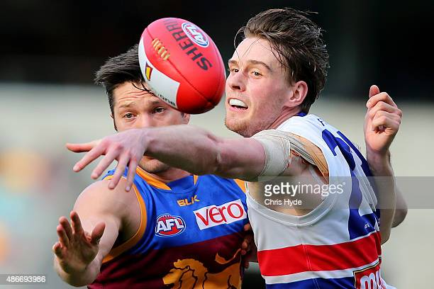Stefan Martin of the Lions and Jordan Roughead of the Bulldogs compete for the ball during the round 23 AFL match between the Brisbane Lions and the...