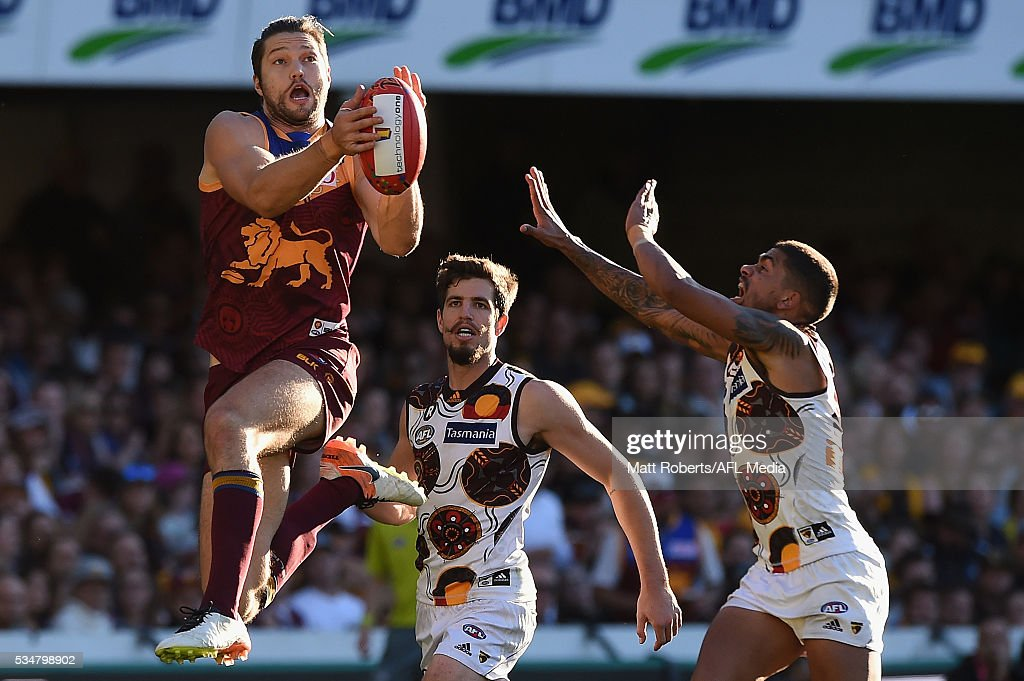 Stefan Martin of the Lions competes for the ball during the round 10 AFL match between the Brisbane Lions and the Hawthorn Hawks at The Gabba on May 28, 2016 in Brisbane, Australia.