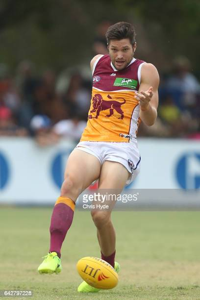Stefan Martin of the Lions kicks during the 2017 JLT Community Series match at Broadbeach Sports Centre on February 19 2017 in Gold Coast Australia