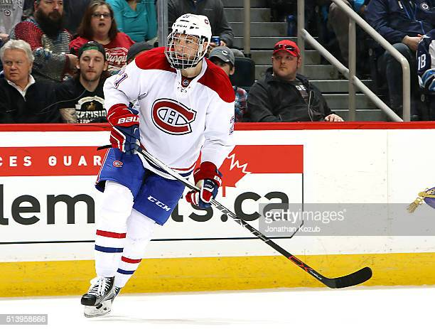 Stefan Matteau of the Montreal Canadiens keeps an eye on the play during second period action against the Winnipeg Jets at the MTS Centre on March 5...