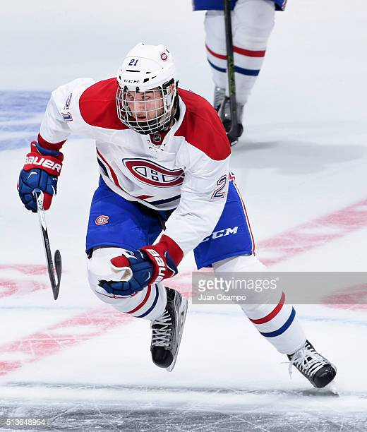 Stefan Matteau of the Montreal Canadiens skates during the game against the Los Angeles Kings on March 3 2016 at Staples Center in Los Angeles...