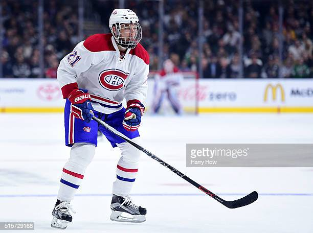 Stefan Matteau of the Montreal Canadiens skates in to forecheck against the Los Angeles Kings at Staples Center on March 3 2016 in Los Angeles...