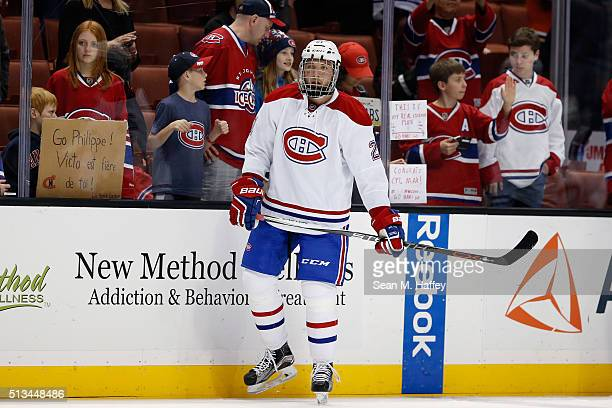 Stefan Matteau of the Montreal Canadiens stands during warm ups prior to a game against the Anaheim Ducks at Honda Center on March 2 2016 in Anaheim...