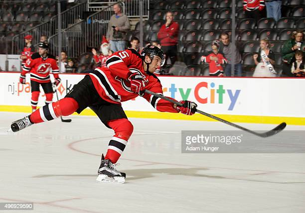 Stefan Matteau of the New Jersey Devils during warm ups prior to taking on the New York Islanders at the Prudential Center on October 31 2015 in...