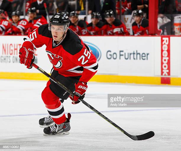 Stefan Matteau of the New Jersey Devils skates against the Anaheim Ducks during the game at the Prudential Center on March 29 2015 in Newark New...
