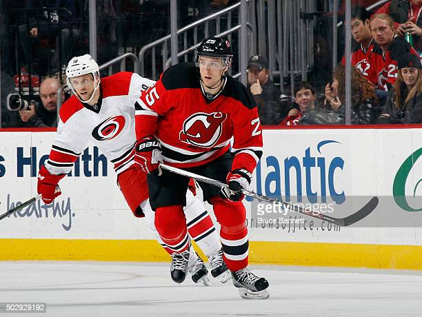 Stefan Matteau of the New Jersey Devils skates against the Carolina Hurricanes at the Prudential Center on December 29 2015 in Newark New Jersey The...