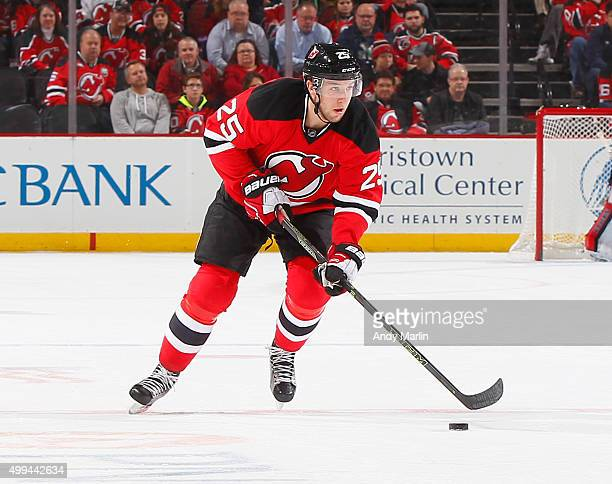Stefan Matteau of the New Jersey Devils skates against the Columbus Blue Jackets at the Prudential Center on November 25 2015 in Newark New Jersey