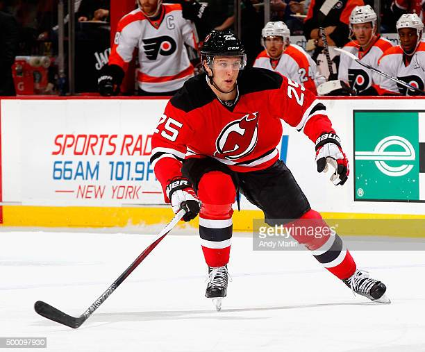 Stefan Matteau of the New Jersey Devils skates against the Philadelphia Flyers during the game at the Prudential Center on December 4 2015 in Newark...
