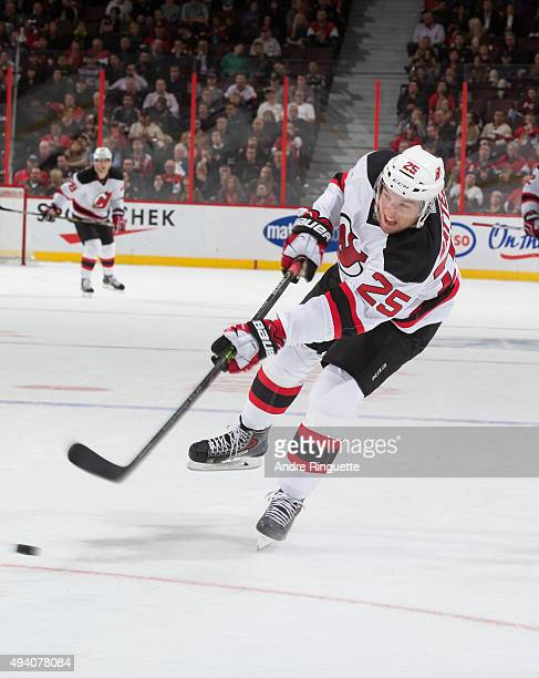 Stefan Matteau of the New Jersey Devils skates against the Ottawa Senators at Canadian Tire Centre on October 22 2015 in Ottawa Ontario Canada