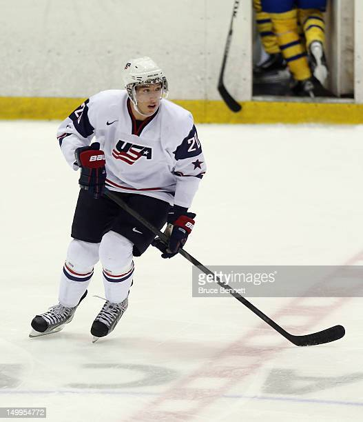 Stefan Matteau of the USA White Squad skates against Team Sweden at the USA hockey junior evaluation camp at the Lake Placid Olympic Center on August...