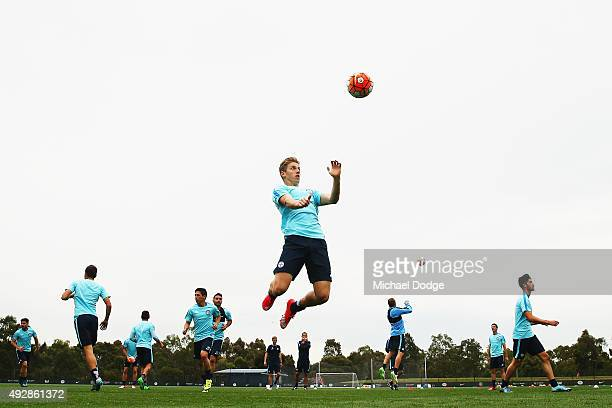 Stefan Mauk headers the ball during a Melbourne City FC training session at City Football Academy on October 16 2015 in Melbourne Australia