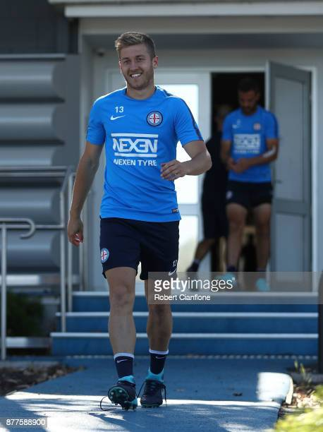 Stefan Mauk of the City arrives for a Melbourne City ALeague training session at City Football Academy on November 23 2017 in Melbourne Australia