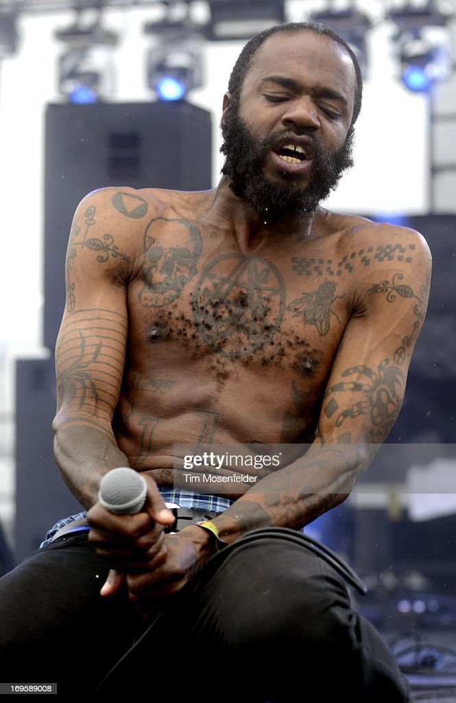 Stefan 'MC Ride' Burnett of Death Grips performs as part of Day 4 of the Sasquatch! Music Festival at the Gorge Amphitheatre on May 27, 2013 in George, Washington.