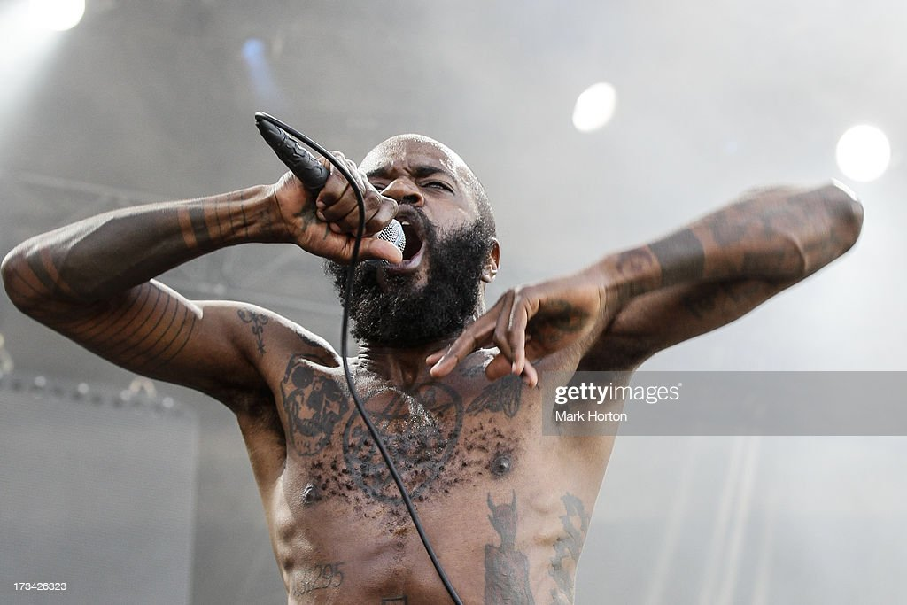 Stefan 'MC Ride' Burnett of Death Grips performs on Day 9 of the RBC Royal Bank Bluesfest on July 13, 2013 in Ottawa, Canada.