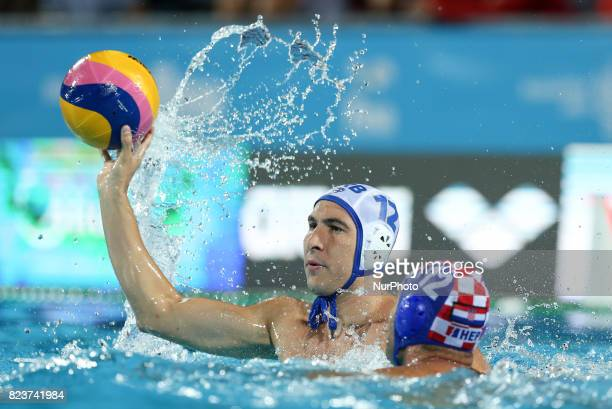 Stefan Mitrovic Javier Garcia Gadea in action during semifinal water polo match between Croatia and Serbia at the FINA2017 world championships on...