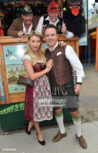 Stefan Mross and his girlfriend AnnaCarina Woitschack during the 'Alpenherz' as part of the Oktoberfest 2017 at Kaefer Tent on September 19 2017 in...