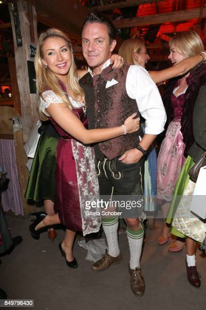 Stefan Mross and his girlfriend AnnaCarina Woitschack during the 'Alpenherz Wies'n' as part of the Oktoberfest at Theresienwiese on September 19 2017...