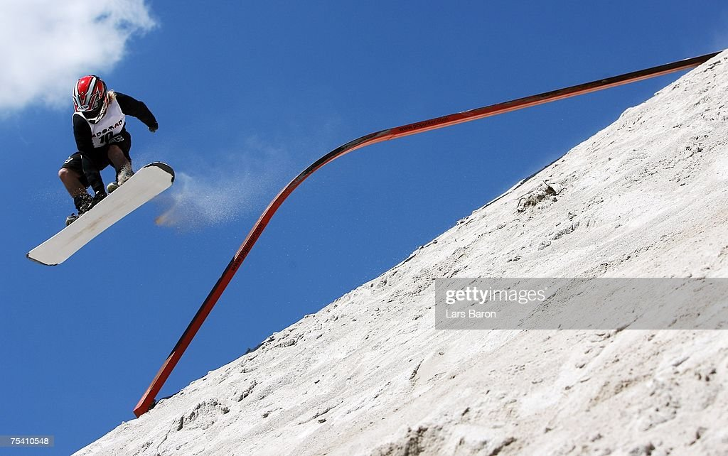 Stefan Mrozinski of Germany jumps from a rail during the Sandslopestyle competition at the Sandboarding World Championship 2007 at the Monte Kaolino on July 14, 2007 in Hirschau, Germany.
