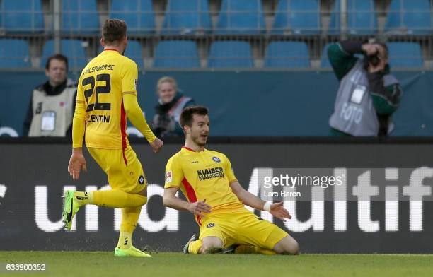 Stefan Mugosa of Karlsruhe celebrates after scoring his teams first goal during the Second Bundesliga match between VfL Bochum 1848 and Karlsruher SC...