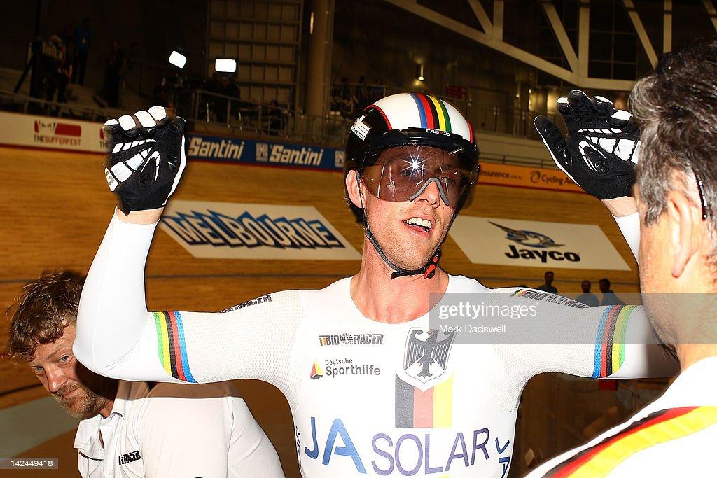 Stefan Nimke of Germany celebrates after winning the Men's 1Km Time Trial Final at Hisense Arena on April 5, 2012 in Melbourne, Australia.