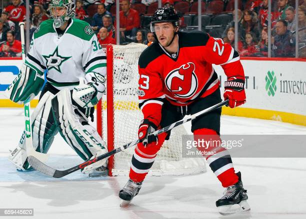 Stefan Noesen of the New Jersey Devils in action against the Dallas Stars on March 26 2017 at Prudential Center in Newark New Jersey The Stars...