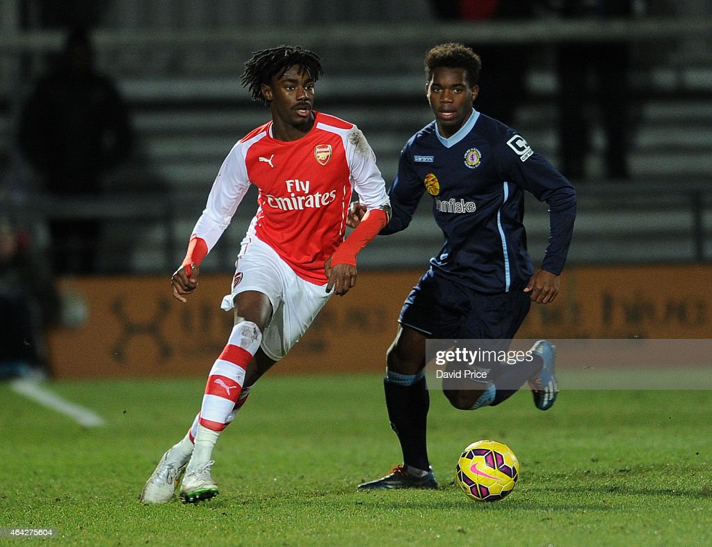 Stefan O'Connor of Arsenal takes on Andre Brown of Crewe during the match between Arsenal U18 and Crewe Alexandra U18 in the FA Youth Cup 5th Round...