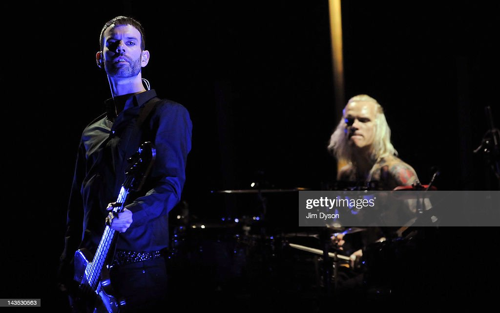 Stefan Olsdal and Steve Forrest of Placebo perform live on stage during Sundance London Film & Music Festival at Indigo2 at O2 Arena on April 28, 2012 in London, United Kingdom.