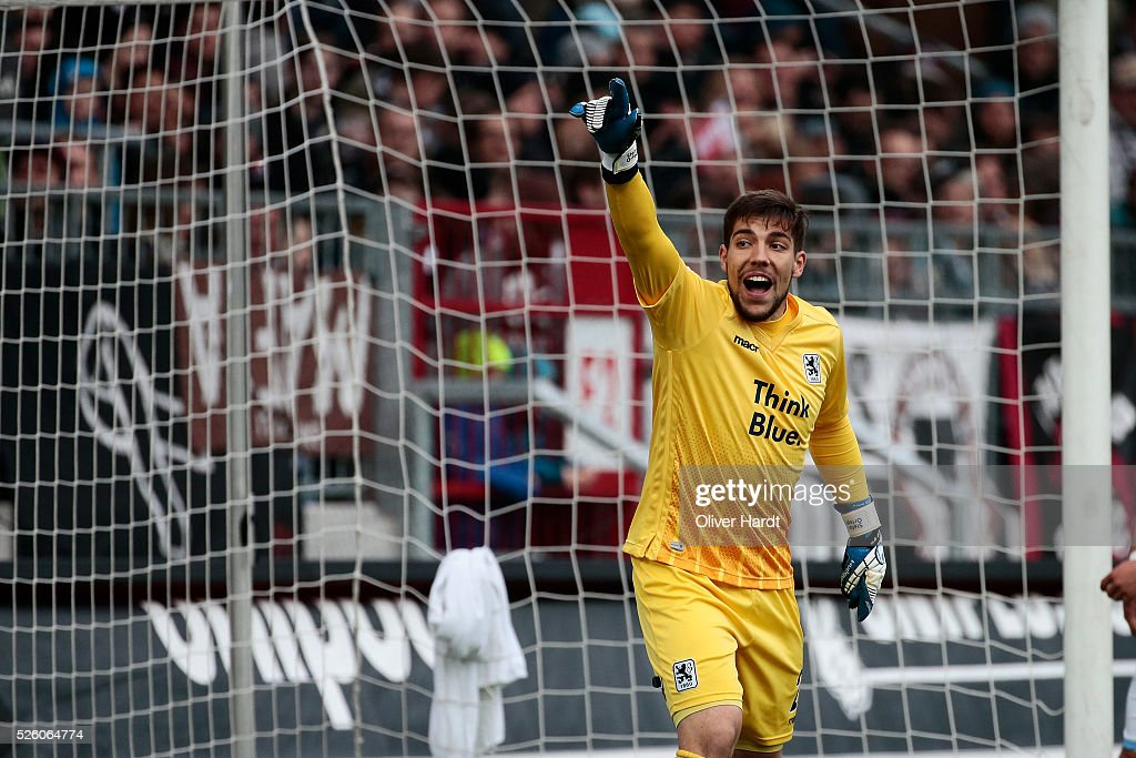 Stefan Ortega Moreno of Muenchen gesticulated during the Second Bundesliga match between FC St. Pauli and 1860 Muenchen at Millerntor Stadium on April 29, 2016 in Hamburg, Germany.