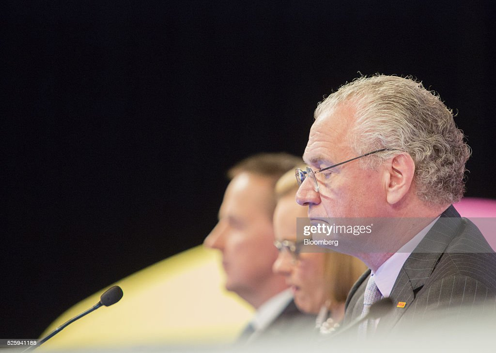 Stefan Oschmann, deputy chief executive officer of Merck KGaA, looks on during the pharmaceutical company's annual general meeting in Frankfurt, Germany, on Friday, April 29, 2016. Merck's Chief Executive Officer Karl-Ludwig Kley will replace Werner Wenning as chairman of the supervisory board of EON SE after the company's annual general meeting on June 8, EON said. Photographer: Martin Leissl/Bloomberg via Getty Images