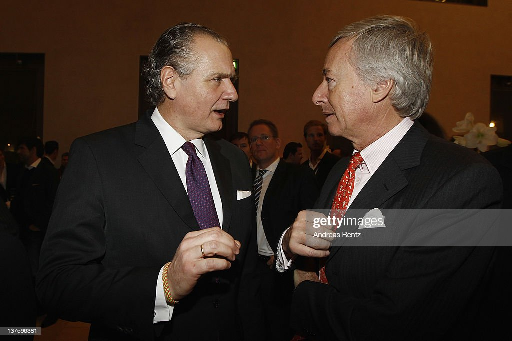Stefan Oschmann of Merck Group and Franz M. Haniel, chairman of the Supervisory Board of Franz Haniel & Cie attend the Chairmen & Speaker Dinner during the DLD Conference 2012 at the Jewish Community Centre on January 22, 2012 in Munich, Germany.