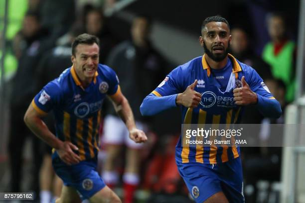 Stefan Payne celebrates after scoring a goal to make it 12 during the Sky Bet League One match between Rotherham United and Shrewsbury Town at The...