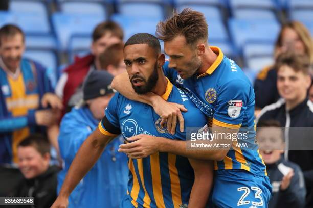 Stefan Payne of Shrewsbury Town celebrates after scoring a goal to make it 32 during the Sky Bet League One match between Shrewsbury Town and...