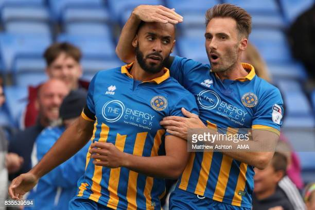 Stefan Payne of Shrewsbury Town celebrates after scoring a goal to make it 32 with Alex Rodman during the Sky Bet League One match between Shrewsbury...