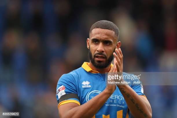 Stefan Payne of Shrewsbury Town celebrates at the end of the game during the Sky Bet League One match between Shrewsbury Town and Rochdale at New...