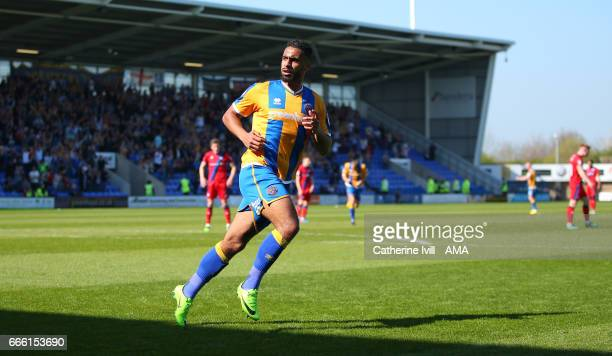 Stefan Payne of Shrewsbury Town runs off to celebrate after he scores a goal to make it 10 during the Sky Bet League One match between Shrewsbury...