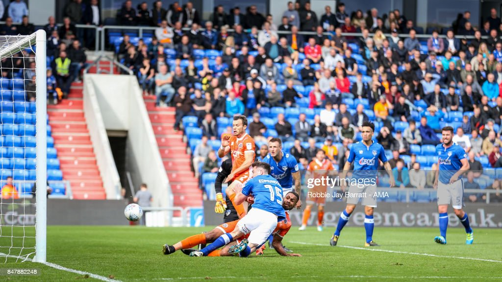Stefan Payne of Shrewsbury Town scores a goal to make it 0-1 during the Sky Bet League One match between Oldham Athletic and Shrewsbury Town at Boundary Park on September 16, 2017 in Oldham, England.