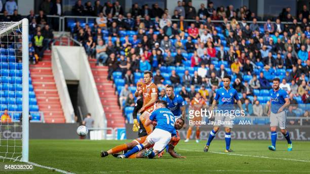 Stefan Payne of Shrewsbury Town scores a goal to make it 10during the Sky Bet League One match between Oldham Athletic and Shrewsbury Town at...