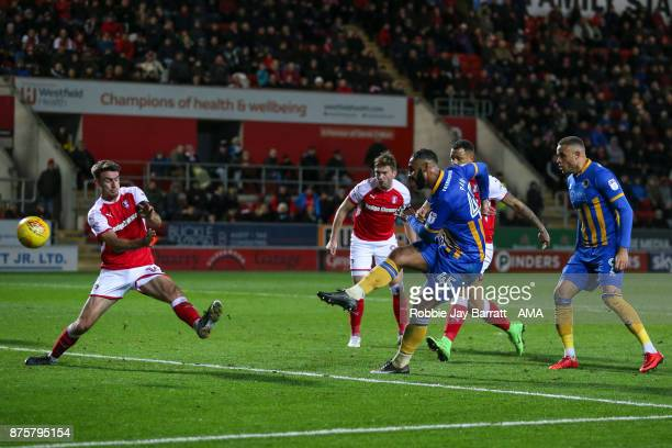 Stefan Payne of Shrewsbury Town scores a goal to make it 12 during the Sky Bet League One match between Rotherham United and Shrewsbury Town at The...